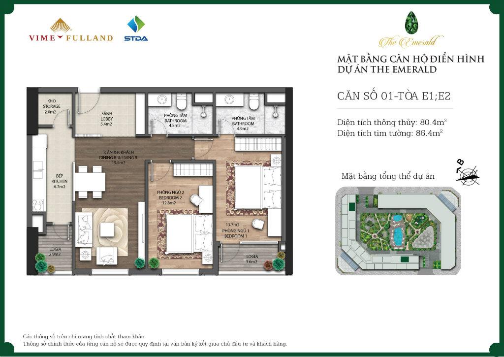 căn 2 ngủ dự án The Emerald Mỹ Đình