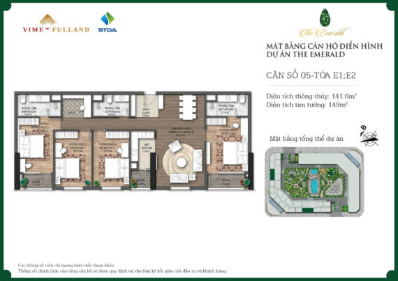 căn 4 ngủ dự án chung cư The Emerald diện tích lớn nhất