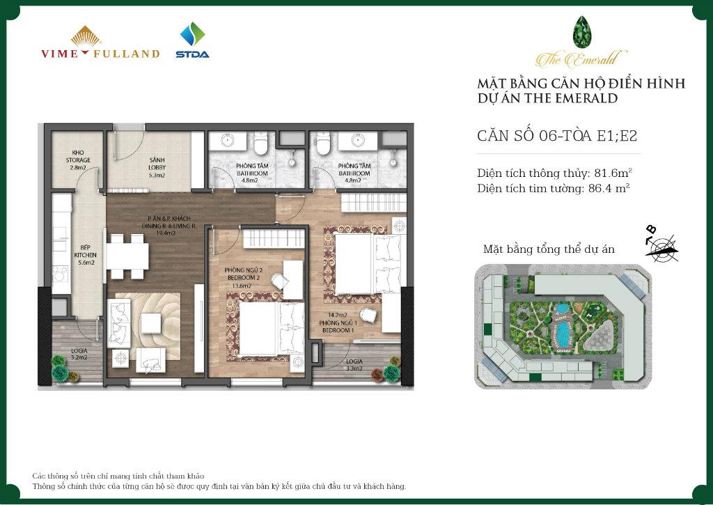 căn 2 ngủ chung cư Ct8 the emerald