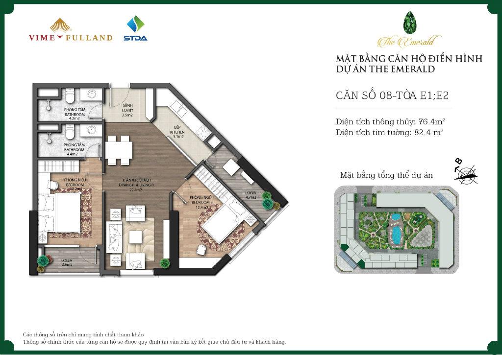căn 2 ngủ chung cư Ct8 mỹ đình diện tích 76m2
