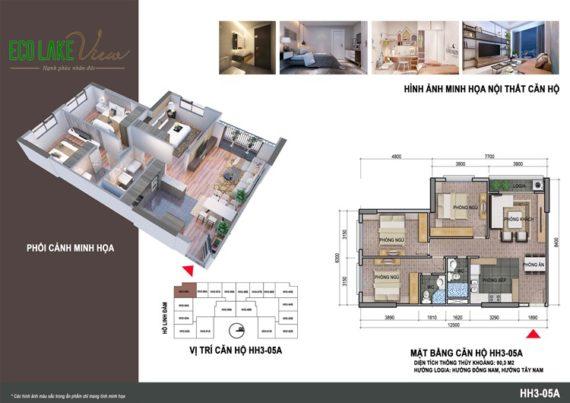 Thiết kế căn 05 HH3 Eco Lake View diện tích 97.5m2: