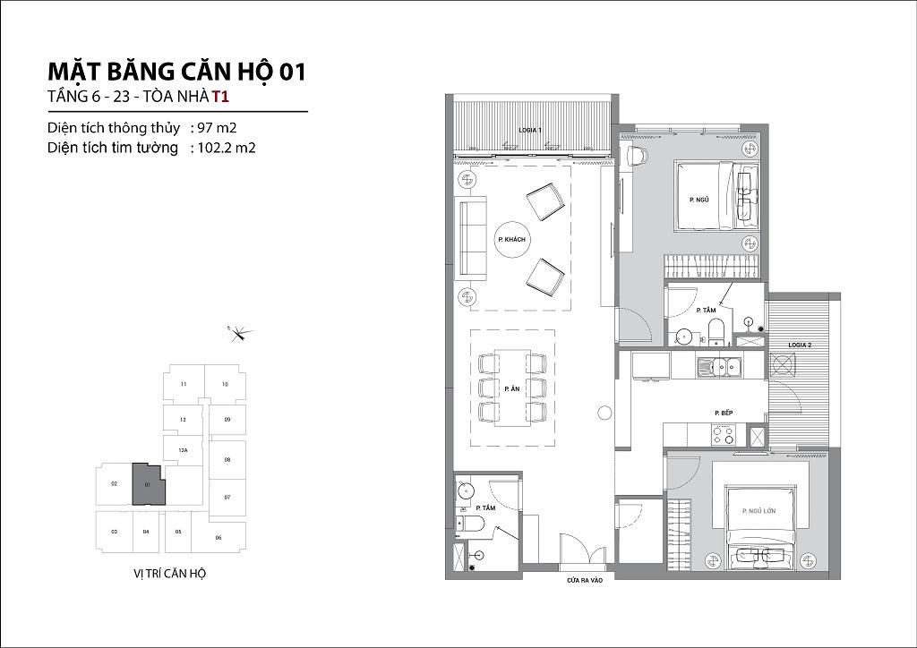 Thiết kế căn hộ sun group quảng an căn 01