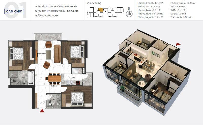 Thiết kế căn 01 sunshine city
