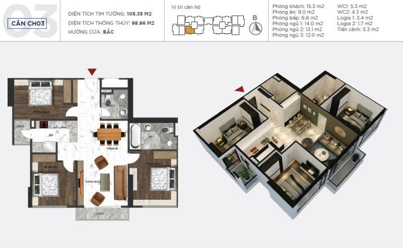 Thiết kế căn 03 sunshine city