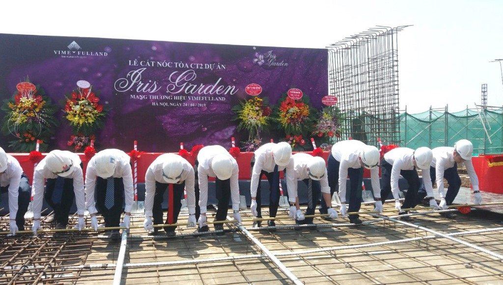 Hình ảnh lễ cất nóc dự án Iris Garden TRần Hữu Dực