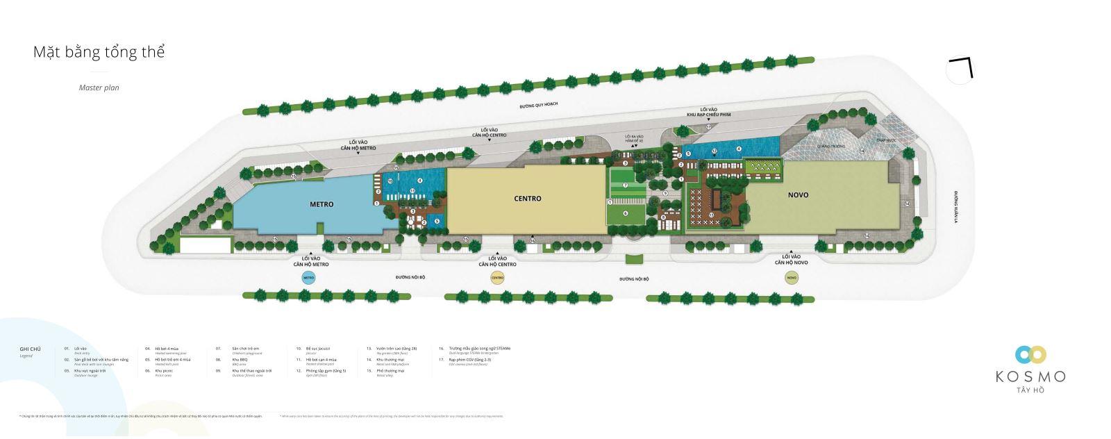 mặt bằng tổng thể dự án kosmo tây hồ