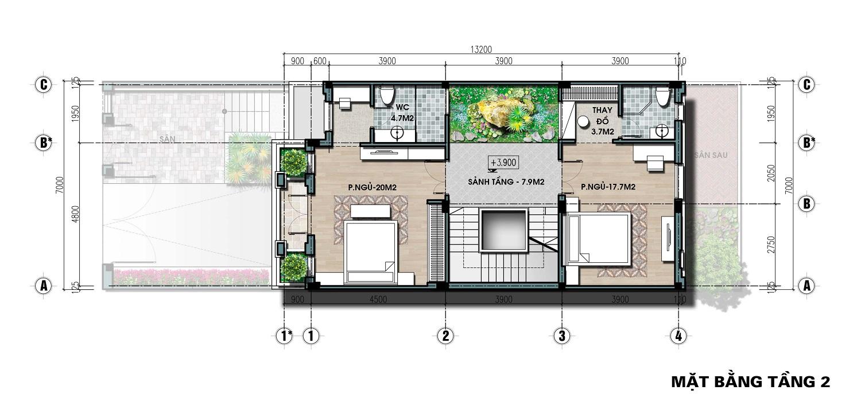 thiết kế biệt thự liền kề the lotus center tầng 2
