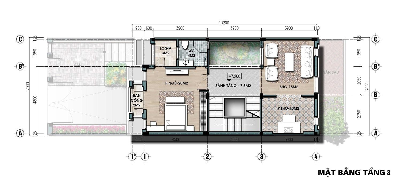 thiết kế biệt thự liền kề the lotus center tầng 3