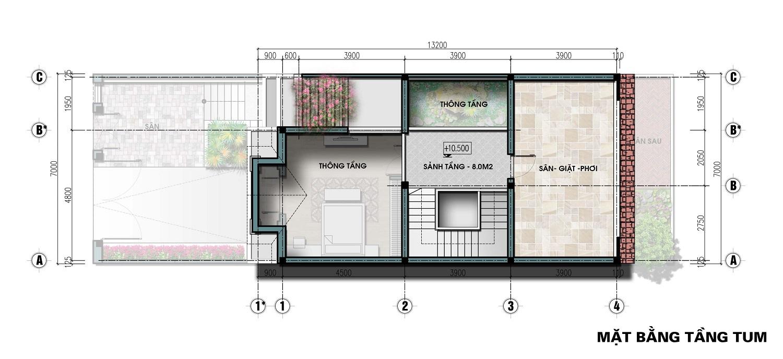 thiết kế biệt thự liền kề the lotus center tầng tum