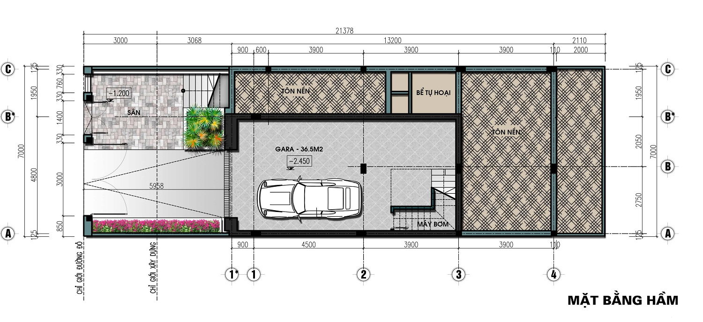 thiết kế biệt thự liền kề the lotus center tầng hầm